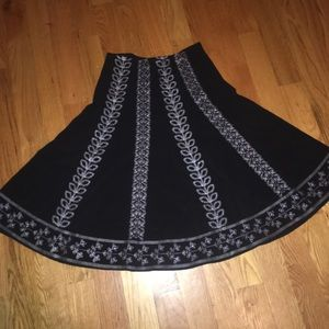 Embroidered Black Skirt